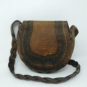 Hand crafted leather  purse tooled braided vintage